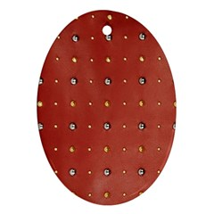 Studded Faux Leather Red Ceramic Ornament (oval) by artattack4all