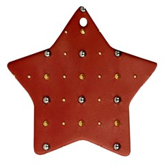Studded Faux Leather Red Ceramic Ornament (star)
