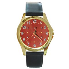 Studded Faux Leather Red Black Leather Gold Rim Watch (round) by artattack4all