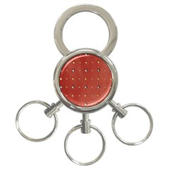 Studded Faux Leather Red 3 Ring Key Chain by artattack4all