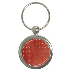 Studded Faux Leather Red Key Chain (round) by artattack4all