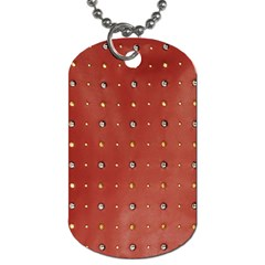 Studded Faux Leather Red Twin Sided Dog Tag