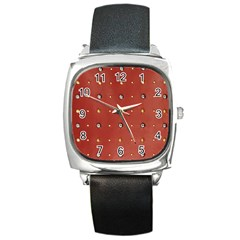 Studded Faux Leather Red Black Leather Watch (square)