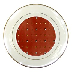 Studded Faux Leather Red Porcelain Display Plate by artattack4all