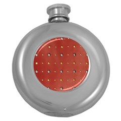 Studded Faux Leather Red Hip Flask (round)