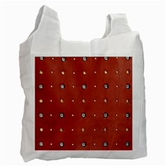Studded Faux Leather Red Single Sided Reusable Shopping Bag by artattack4all