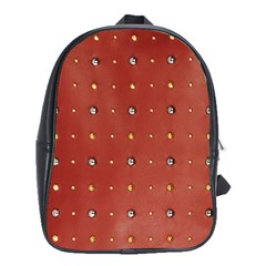Studded Faux Leather Red Large School Backpack