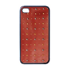 Studded Faux Leather Red Black Apple Iphone 4 Case by artattack4all