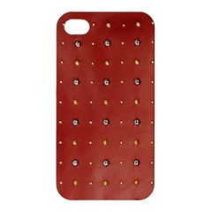Studded Faux Leather Red Apple Iphone 4/4s Hardshell Case by artattack4all