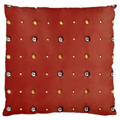 Studded Faux Leather Red Large Cushion Case (two Sides) by artattack4all