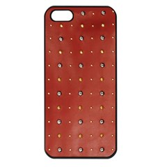 Studded Faux Leather Red Apple Iphone 5 Seamless Case (black) by artattack4all