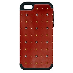 Studded Faux Leather Red Apple Iphone 5 Hardshell Case (pc+silicone) by artattack4all