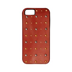 Studded Faux Leather Red Apple Iphone 5 Classic Hardshell Case (pc+silicone) by artattack4all