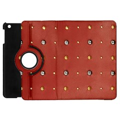 Studded Faux Leather Red Apple Ipad Mini Flip 360 Case by artattack4all