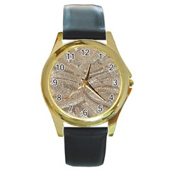 Tri Colored Bling Design Black Leather Gold Rim Watch (round) by artattack4all