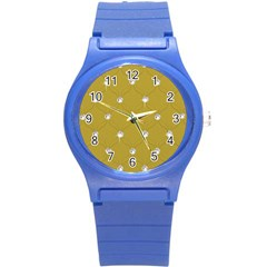 Gold Diamond Bling  Round Plastic Sport Watch Small by artattack4all