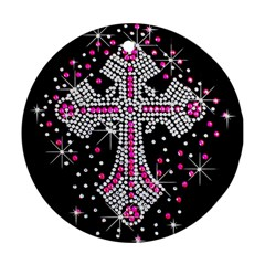 Hot Pink Rhinestone Cross Ceramic Ornament (round) by artattack4all