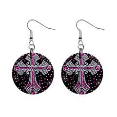 Hot Pink Rhinestone Cross Mini Button Earrings by artattack4all