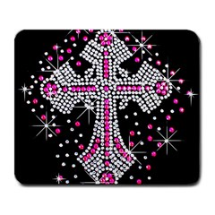 Hot Pink Rhinestone Cross Large Mouse Pad (rectangle) by artattack4all