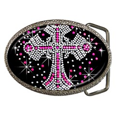 Hot Pink Rhinestone Cross Belt Buckle (oval)