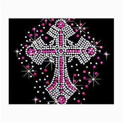 Hot Pink Rhinestone Cross Glasses Cleaning Cloth by artattack4all
