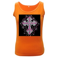 Hot Pink Rhinestone Cross Dark Colored Womens'' Tank Top by artattack4all