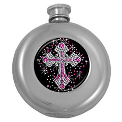 Hot Pink Rhinestone Cross Hip Flask (round) by artattack4all