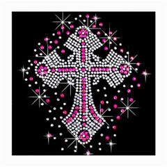 Hot Pink Rhinestone Cross Single-sided Large Glasses Cleaning Cloth by artattack4all