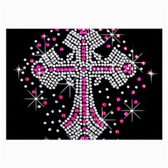 Hot Pink Rhinestone Cross Single Sided Handkerchief by artattack4all