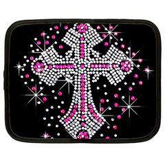 Hot Pink Rhinestone Cross 12  Netbook Case by artattack4all