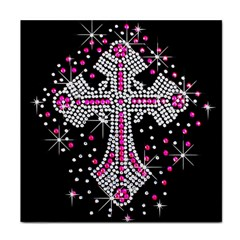 Hot Pink Rhinestone Cross Face Towel by artattack4all