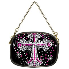 Hot Pink Rhinestone Cross Single Sided Evening Purse by artattack4all