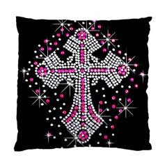 Hot Pink Rhinestone Cross Single Sided Cushion Case by artattack4all