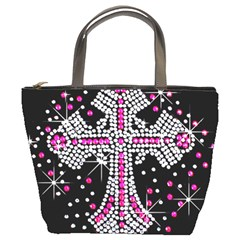 Hot Pink Rhinestone Cross Bucket Handbag by artattack4all