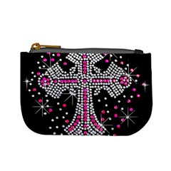 Hot Pink Rhinestone Cross Coin Change Purse by artattack4all