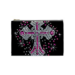 Hot Pink Rhinestone Cross Medium Makeup Purse by artattack4all