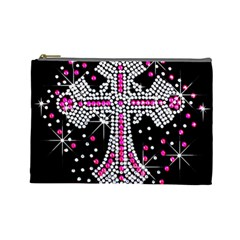 Hot Pink Rhinestone Cross Large Makeup Purse by artattack4all