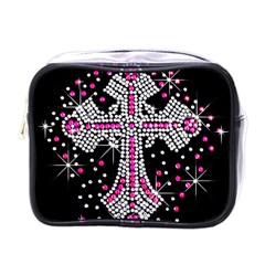 Hot Pink Rhinestone Cross Single Sided Cosmetic Case by artattack4all