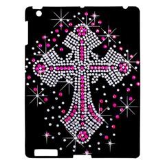 Hot Pink Rhinestone Cross Apple Ipad 3/4 Hardshell Case by artattack4all