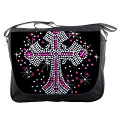 Hot Pink Rhinestone Cross Messenger Bag by artattack4all