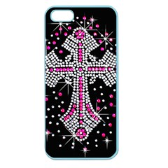 Hot Pink Rhinestone Cross Apple Seamless Iphone 5 Case (color) by artattack4all