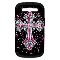 Hot Pink Rhinestone Cross Samsung Galaxy S Iii Hardshell Case (pc+silicone) by artattack4all