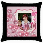 mothers love, mon, happy, family, heart,flower - Throw Pillow Case (Black)