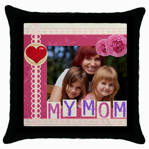 Mothers Day By Jacob   Throw Pillow Case (black)   6e2ax75smwvz   Www Artscow Com Front