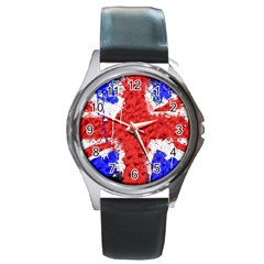 Distressed British Flag Bling Black Leather Watch (round) by artattack4all
