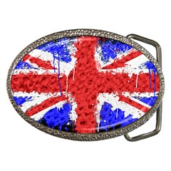 Distressed British Flag Bling Belt Buckle (oval) by artattack4all