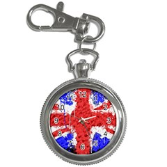 Distressed British Flag Bling Key Chain & Watch