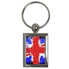 Distressed British Flag Bling Key Chain (rectangle) by artattack4all