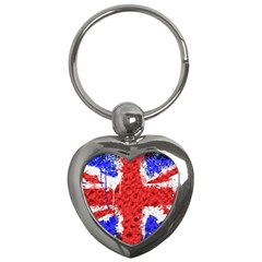 Distressed British Flag Bling Key Chain (heart) by artattack4all