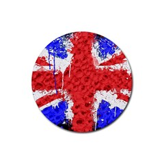 Distressed British Flag Bling Rubber Drinks Coaster (round)